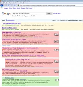 Google.co.uk's SERP for Buy Tuna Sandwich Soham
