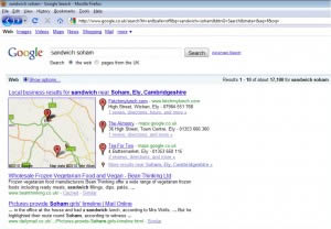 Google.co.uk SERP's for Sandwich Soham