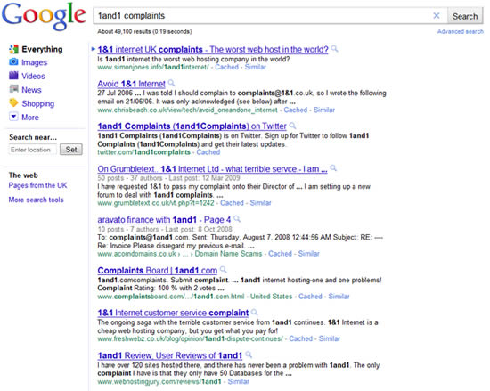 1and1 complaints (Google Screenshot)