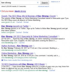 Google SERP Result: Kev Strong