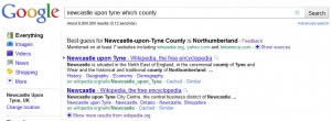 Google Best Guess: Newcastle Upon Tyne Which County