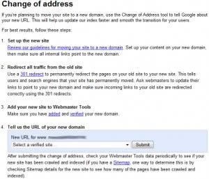 Google Webmaster Tools: Change Of Address